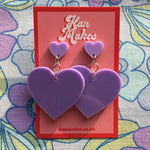 Load image into Gallery viewer, Two Tier Heart Studs - Lilac
