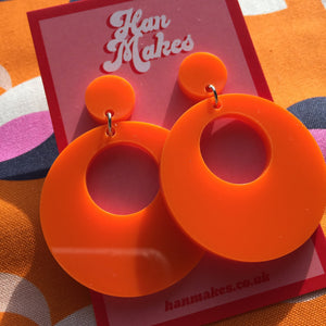 Mod Inspired Stud Hoop Earrings - Orange