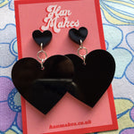 Load image into Gallery viewer, Two Tier Heart Studs - Black
