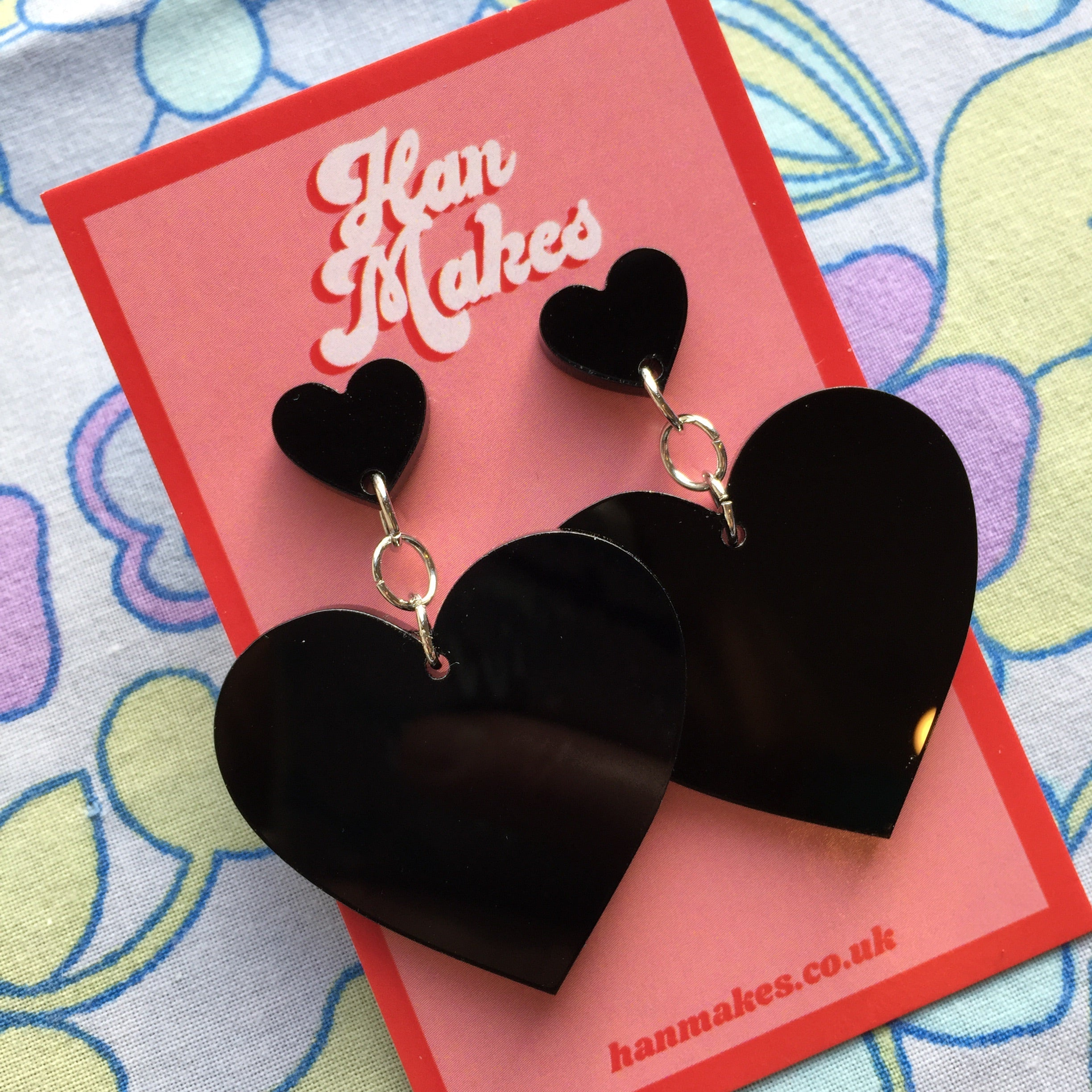 Two Tier Heart Studs - Black