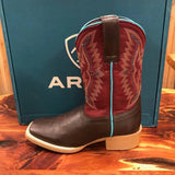 Kid's Ariat Chocolate and Maroon Bristo Square Toe Boot