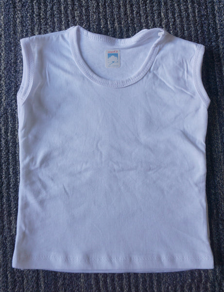 Sleeveless Shirt Plain White