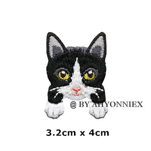 Cute White Black Cat Patch