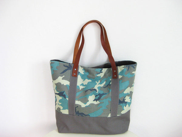 08d3bd95c4c9 Camouflage Tote Bag with Soft Leather Straps