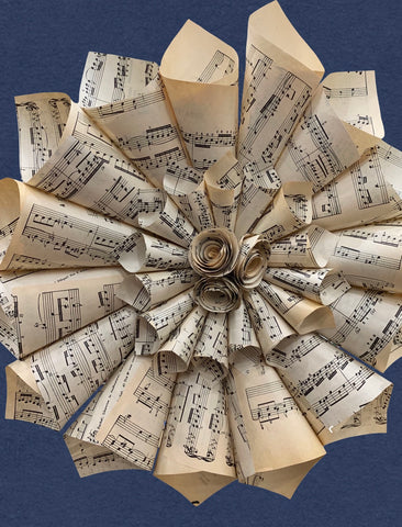 Music Sheet Cone Wreath with Roses