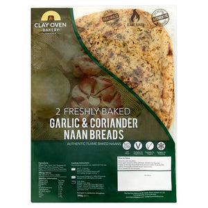 Clay Oven Two Large Baked Garlic and Coriander Naan 360g