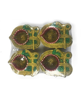 Clay Designer Diyas - 4 Pieces