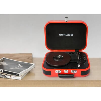 TOURNE-DISQUES VINYLES + FONCTION STEREO BLUETOOTH ROUGE