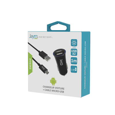 PACK CABLE MICRO USB 1M + CHARGEUR VOITURE 2 USB