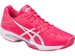Asics GEL Solution Speed 3 Clay Womens R Red Sil Whi - The Racquet Shop