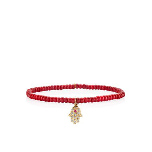 Mini Yellow Gold & Diamond Hamsa on Red Bamboo Coral