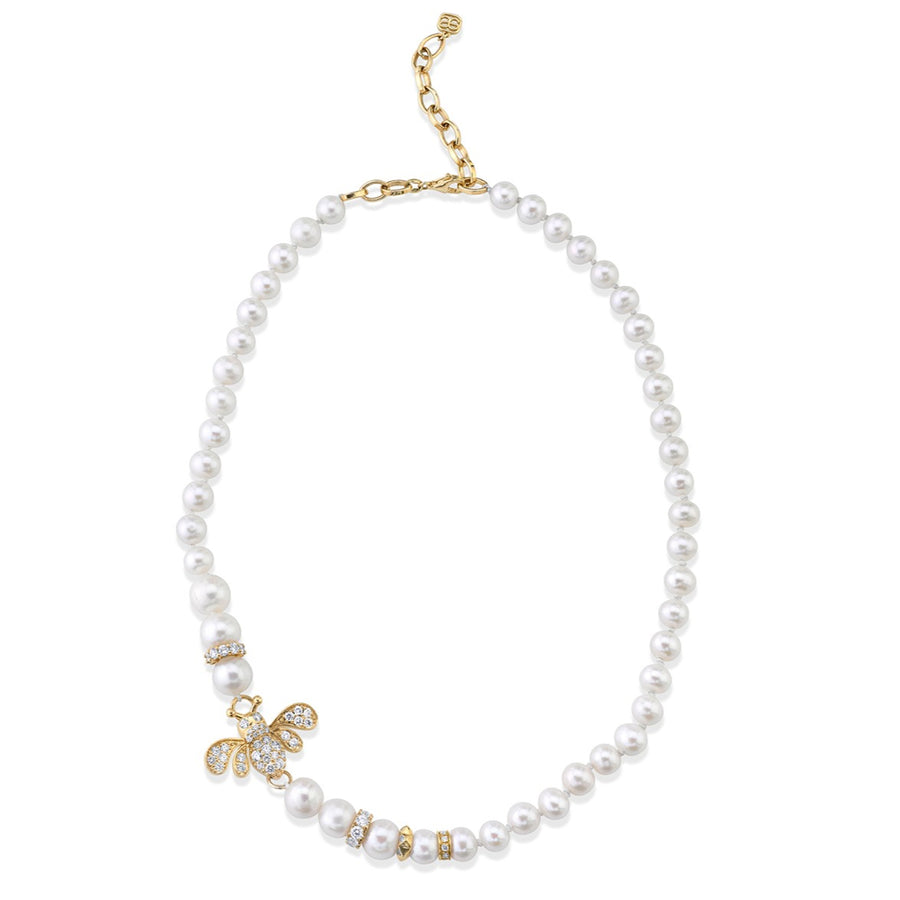 Gold & Diamond Bee Pearl Necklace