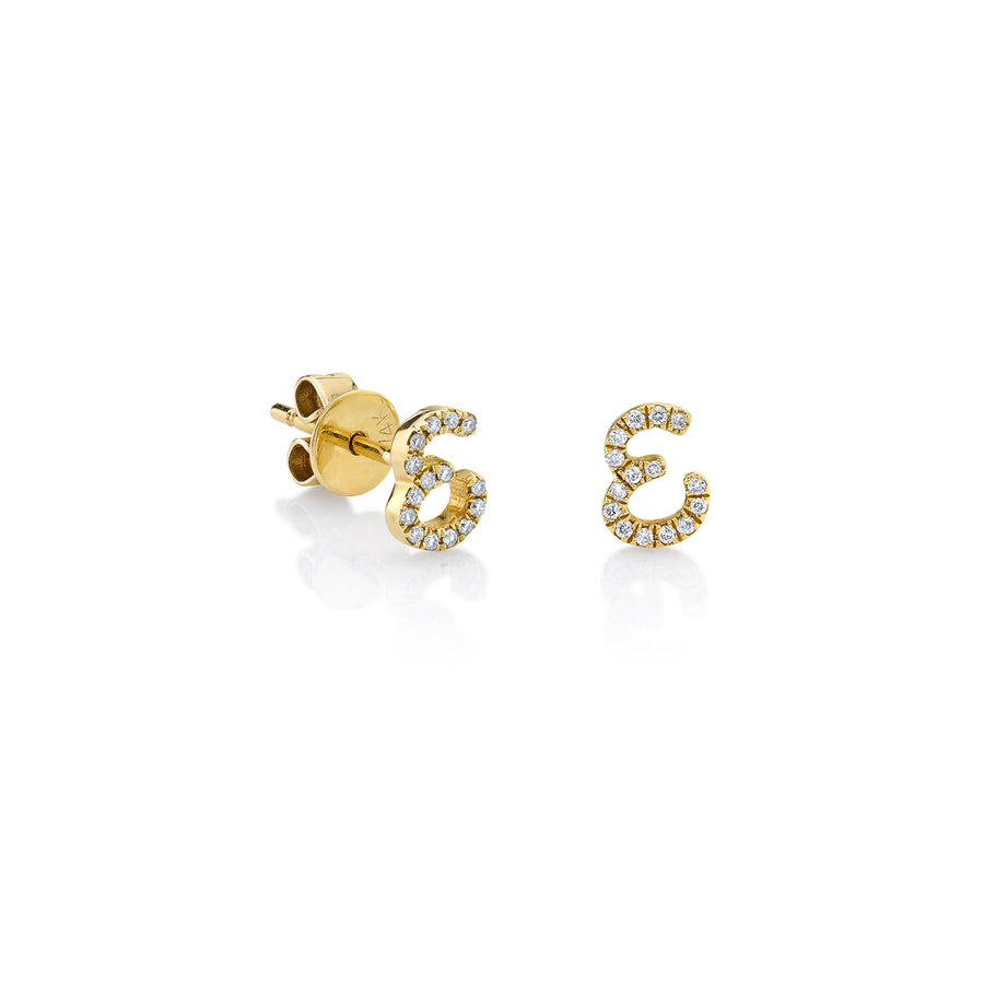 Gold & Diamond Small Initial Studs