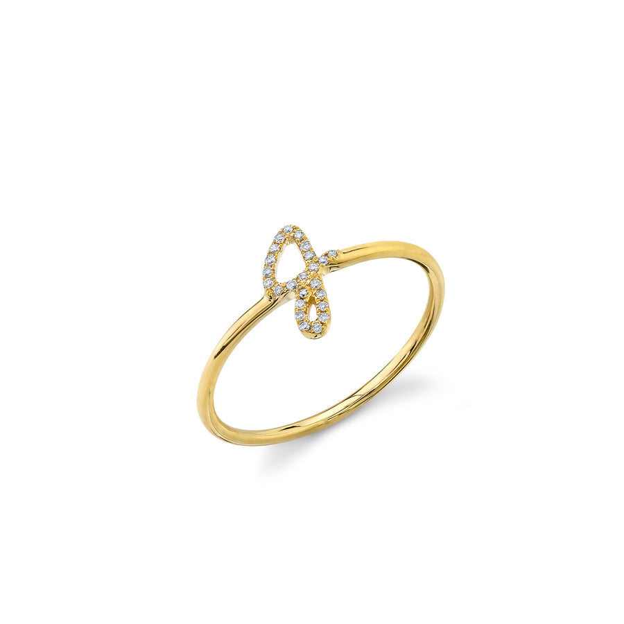 Gold & Diamond Small Initial Ring