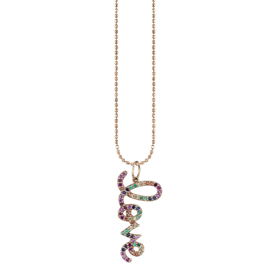 Rose Gold & Rainbow Medium Love Script Charm Necklace