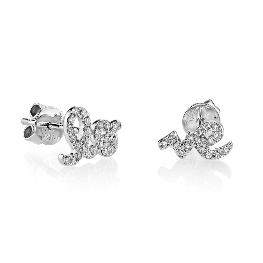 Gold & Pavé Diamond Love Studs