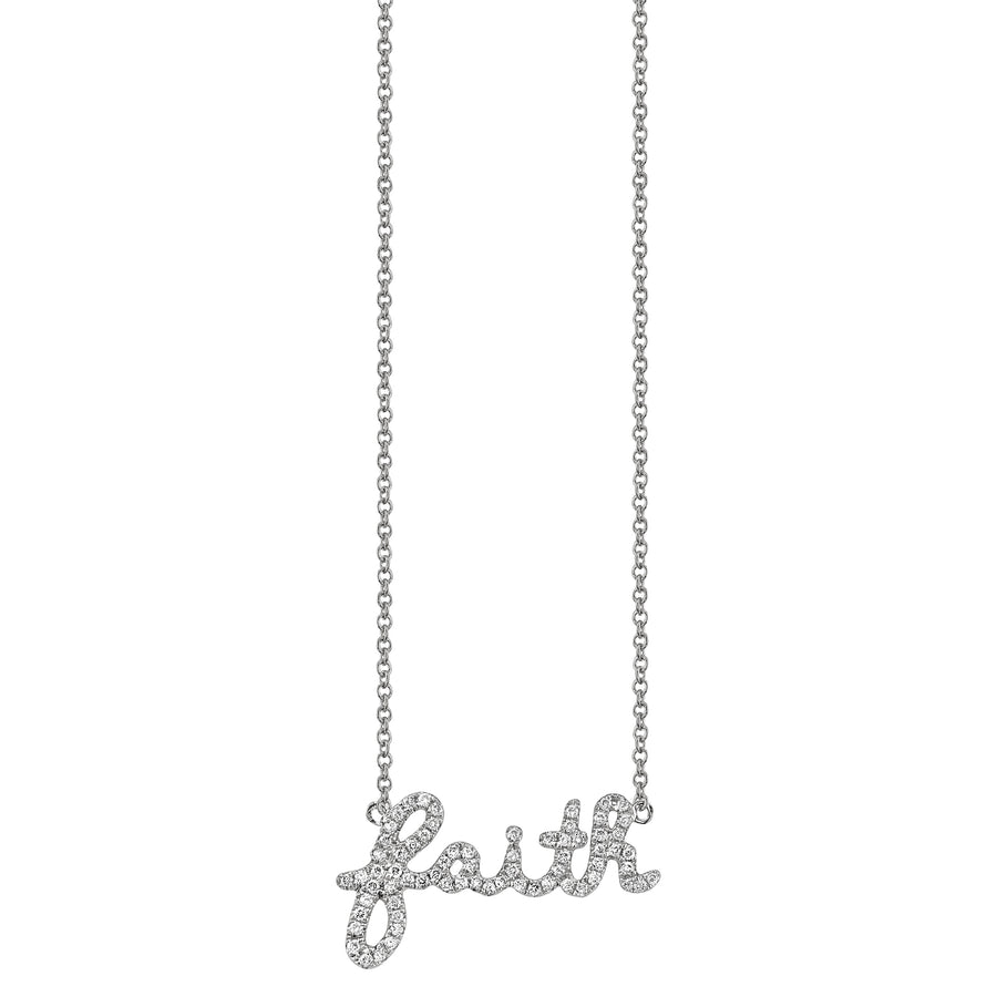 Gold & Pavé Diamond Faith Necklace