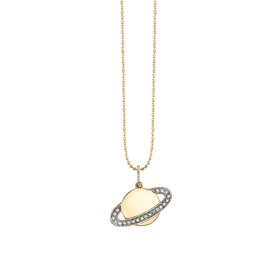 Gold & Diamond Saturn Necklace