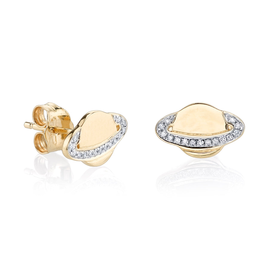 Gold & Diamond Small Saturn Stud Earrings