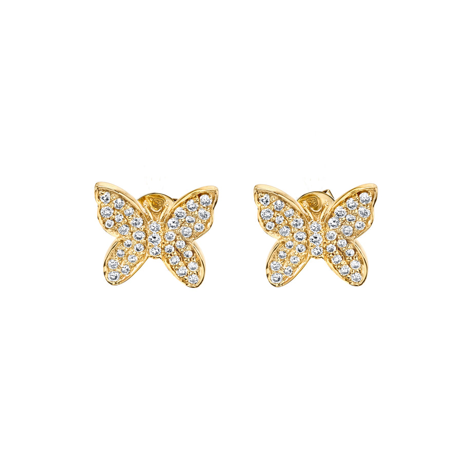 Small Yellow Gold & Pave Diamond Butterfly Earrings