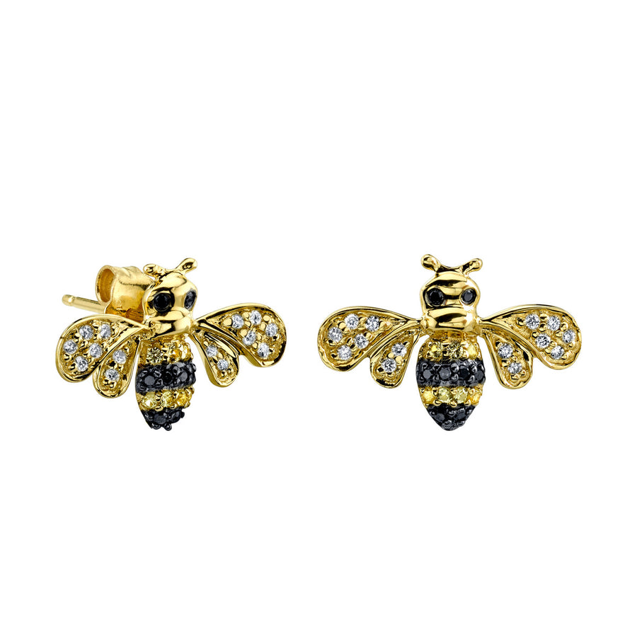 Yellow Gold & Diamond Bumblebee Stud Earrings