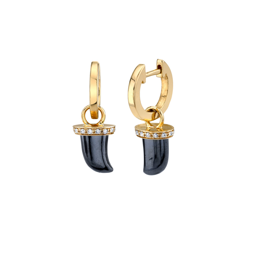 Gold & Diamond Carved Horn Charm Hoops