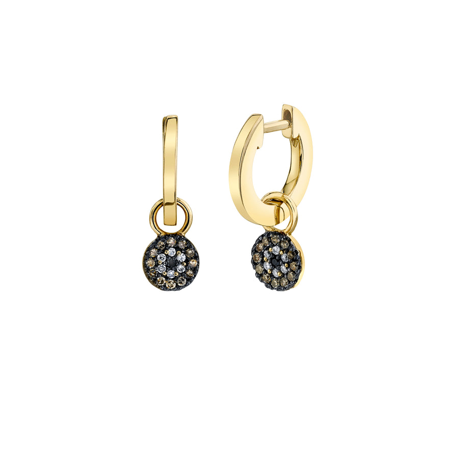 Gold & Diamond Tiny Evil Eye Charm Hoops
