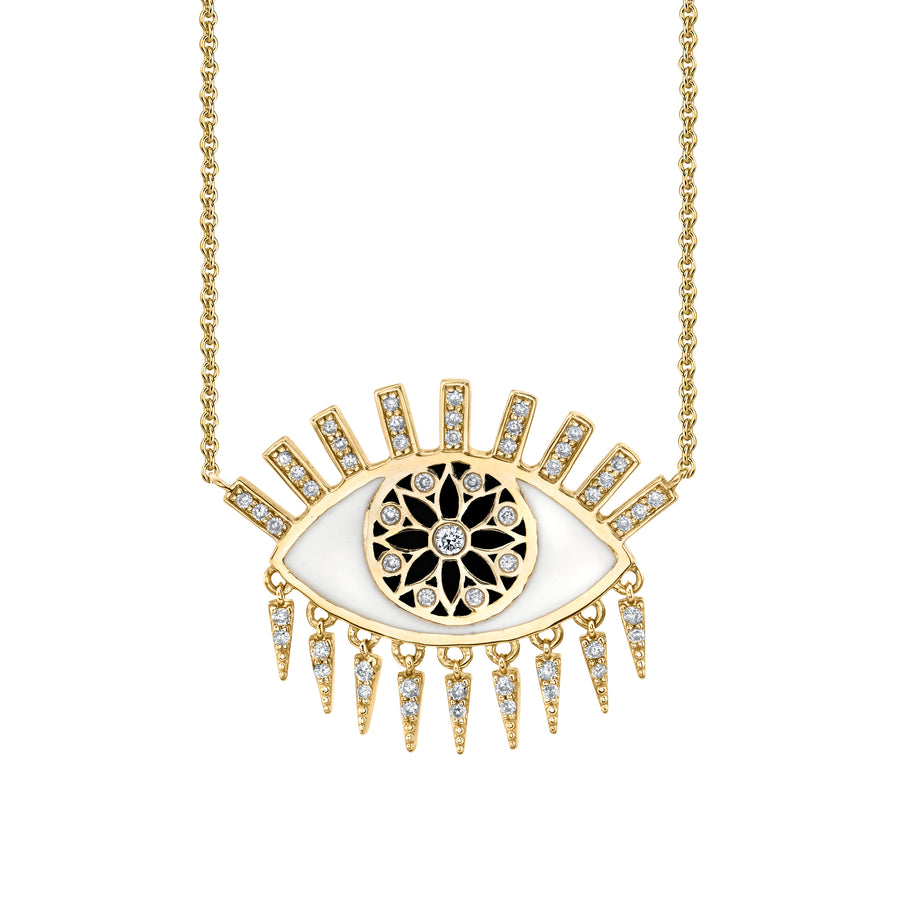 Gold & Diamond Large Kaleidoscope Eye Fringe Necklace