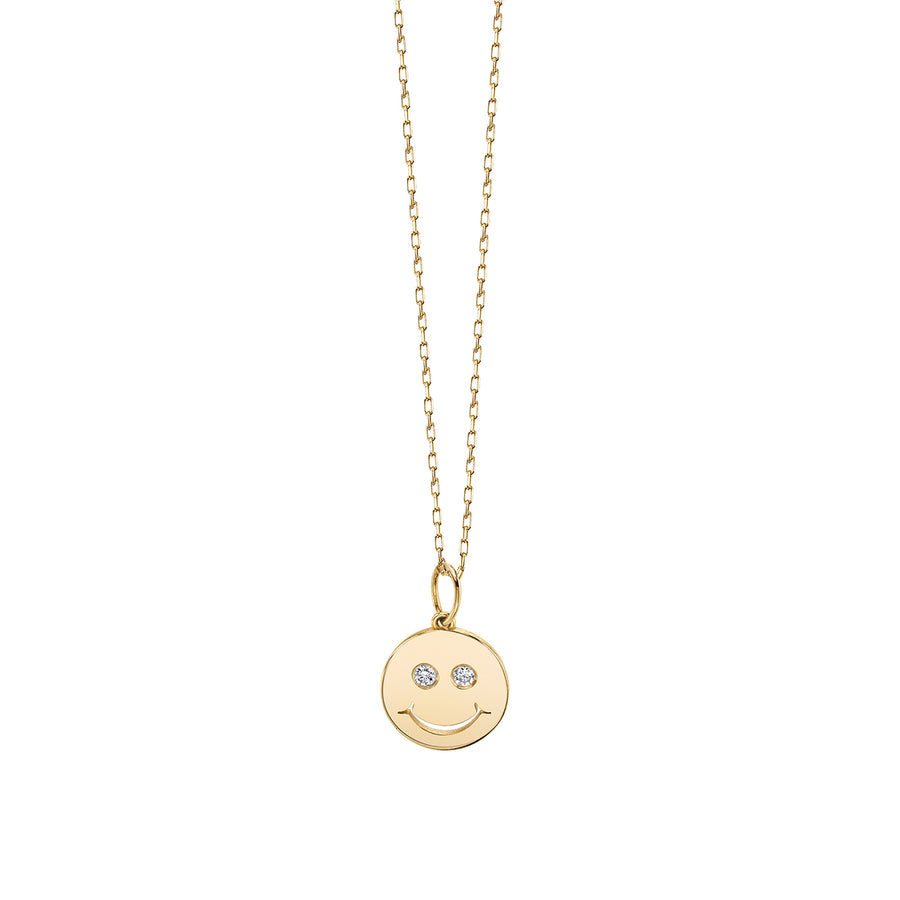 Yellow-Gold & Diamond Happy Face Necklace