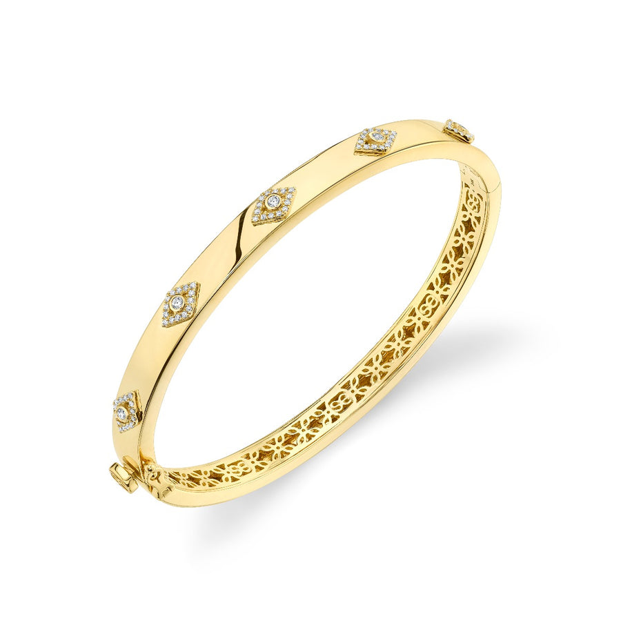 Yellow-Gold & Diamond Multi Evil Eye Bangle