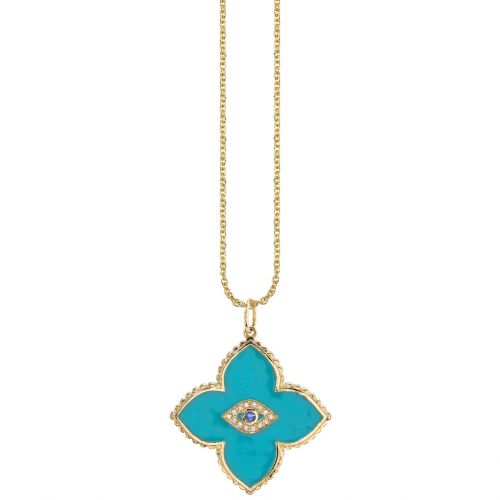 Yellow Gold Bezel Evil Eye Moroccan Turquoise Enamel Necklace