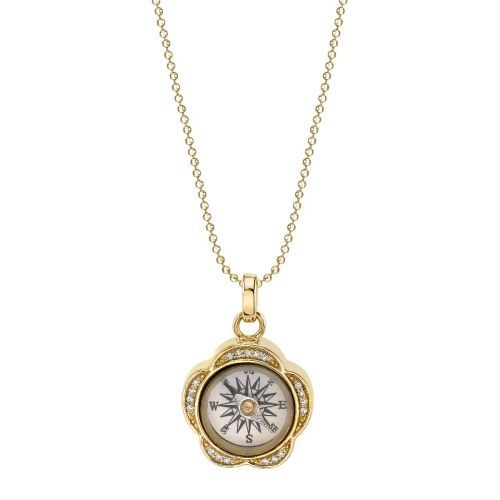 Yellow Gold & Diamond Flower Compass Charm Necklace