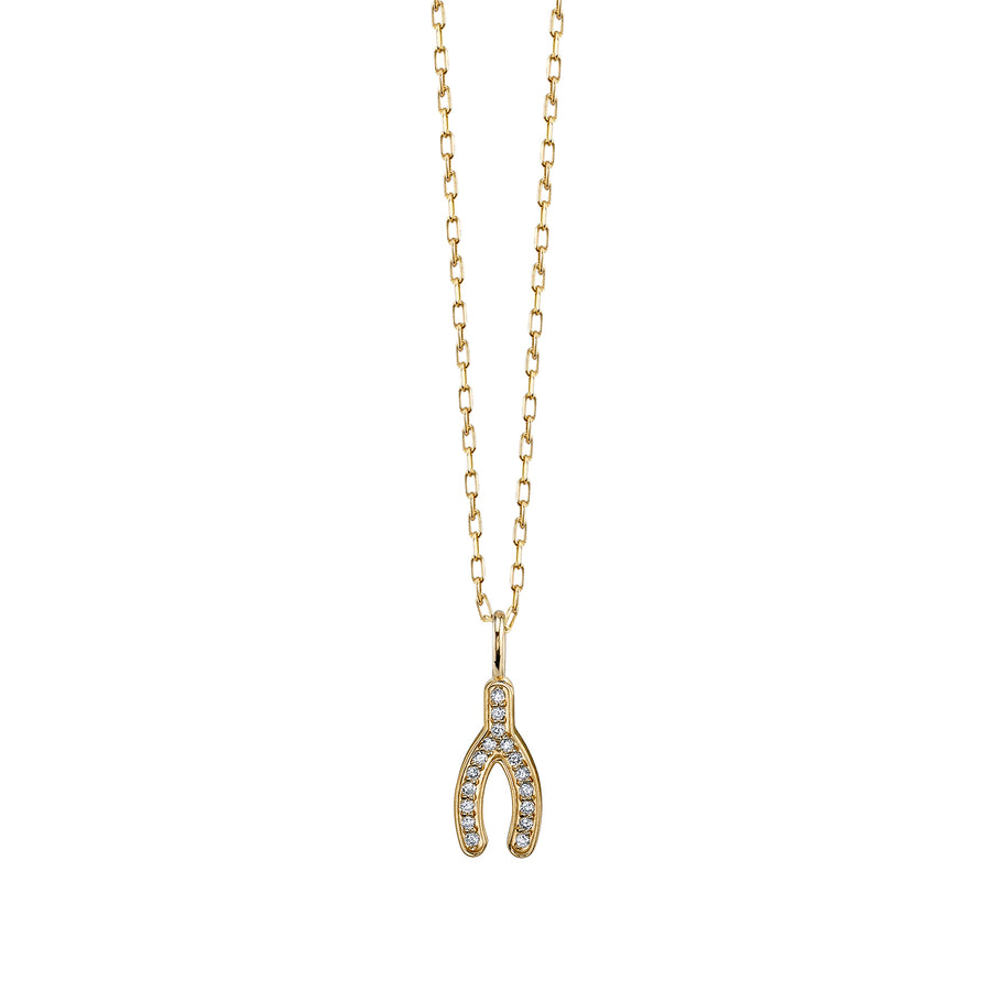 Mini Pave Wishbone Necklace