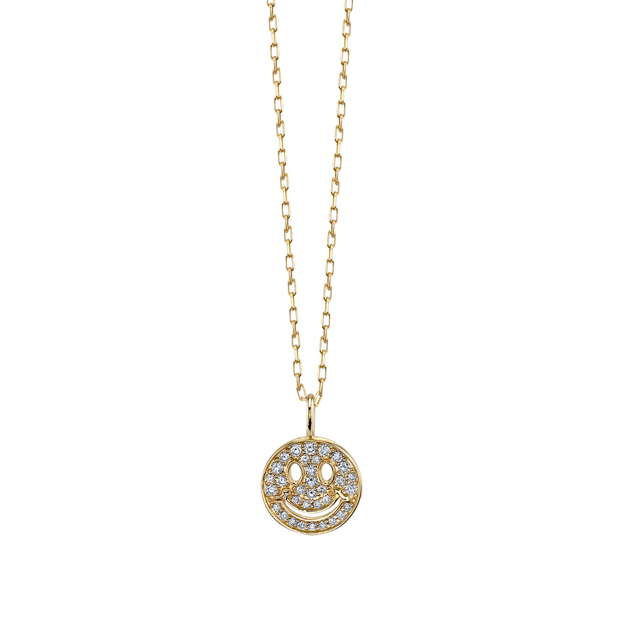 Mini Pave Happy Face Necklace
