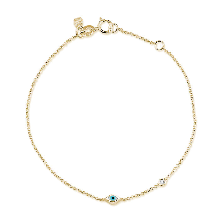 Mini Gold Enamel Evil Eye Anklet with Bezel-Set Diamond