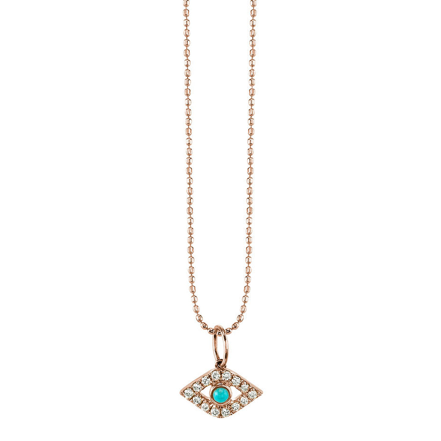 Gold & Diamond Large Bezel Evil Eye Necklace with Turquoise
