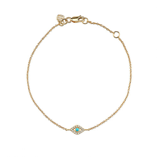 Large Yellow-Gold & Diamond Bezel Evil Eye Bracelet with Turquoise Center