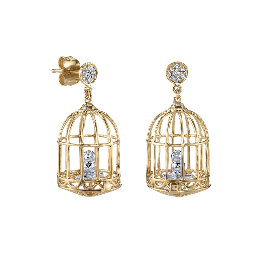 Gold & Diamond Mini Albert Cage on Pave Disc Earrings