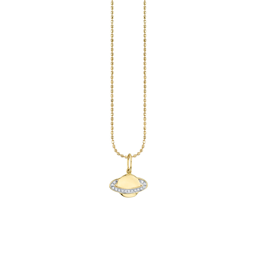 Gold & Diamond Small Saturn Necklace