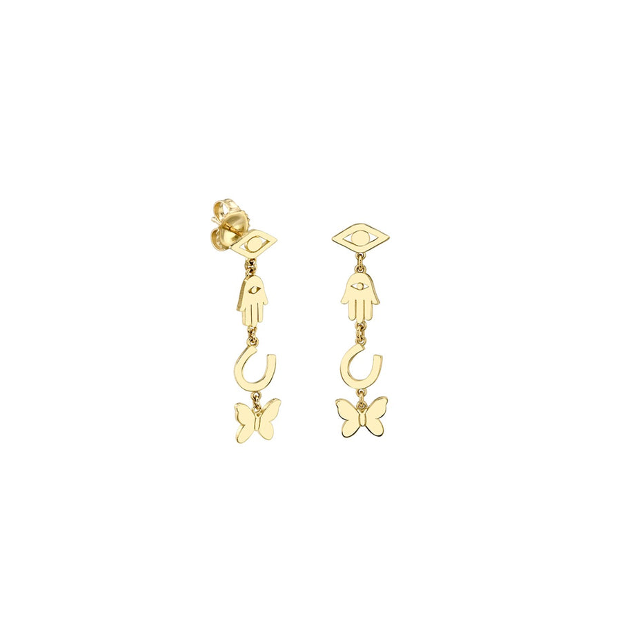 Pure Gold Multi-Icon Short Drop Earrings