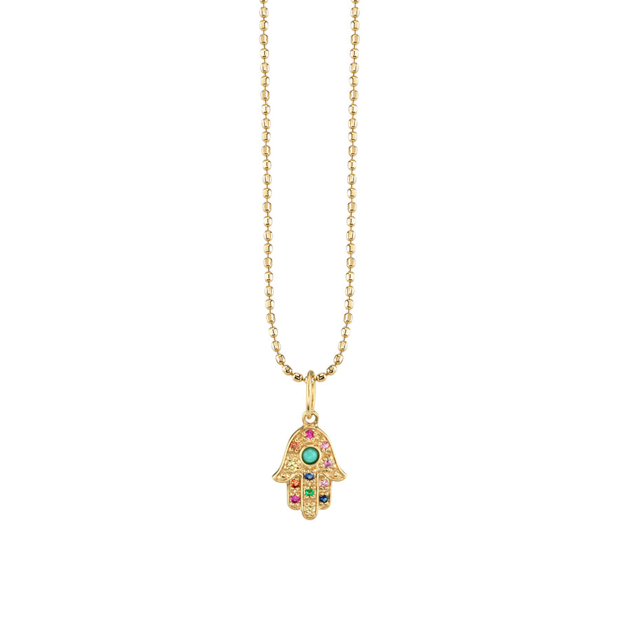 Mini Gold Rainbow Hamsa Necklace with Turquoise