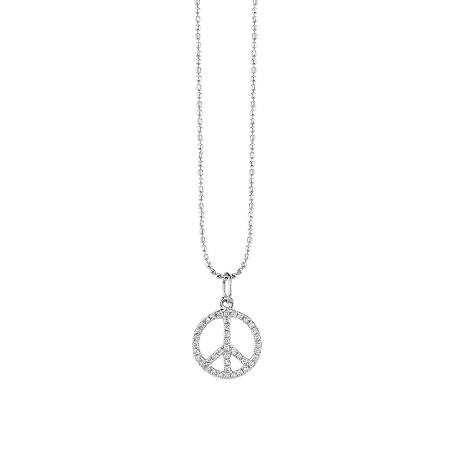 Small Gold & Diamond Peace Sign Necklace