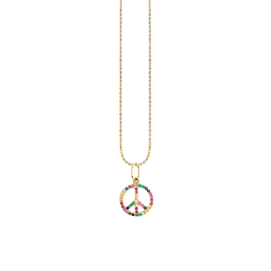 Small Yellow Gold Rainbow Peace Sign Necklace