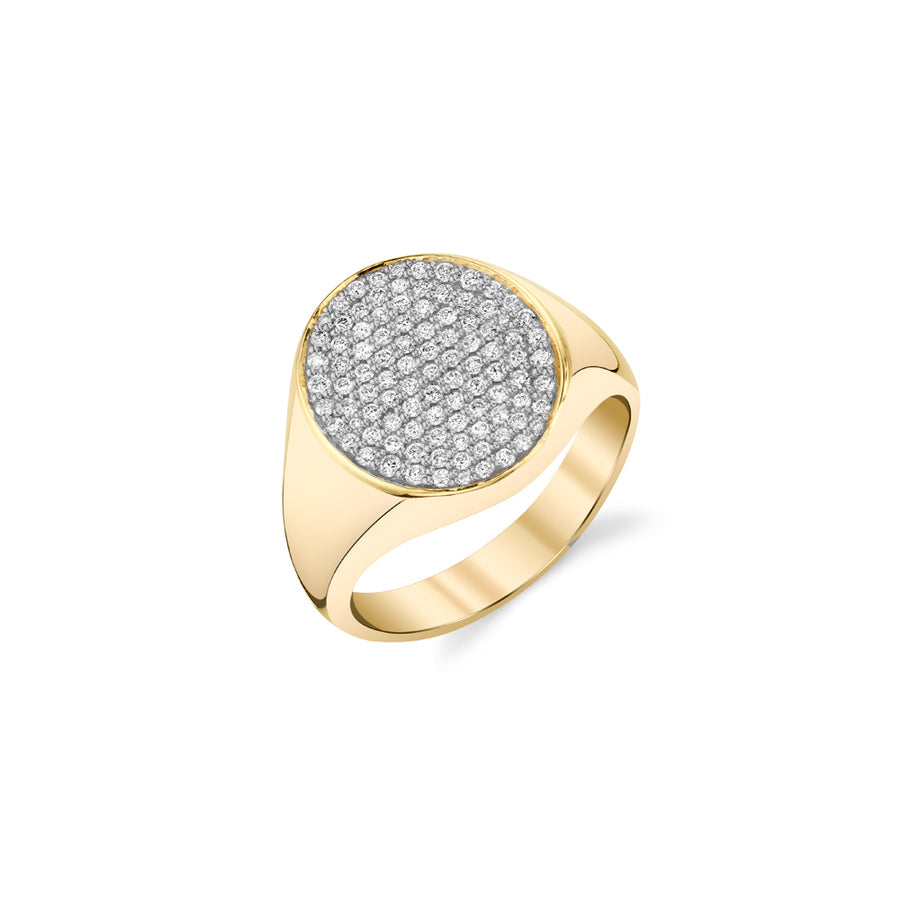 Yellow-Gold & Diamond Medium Oval Pave Signet Ring