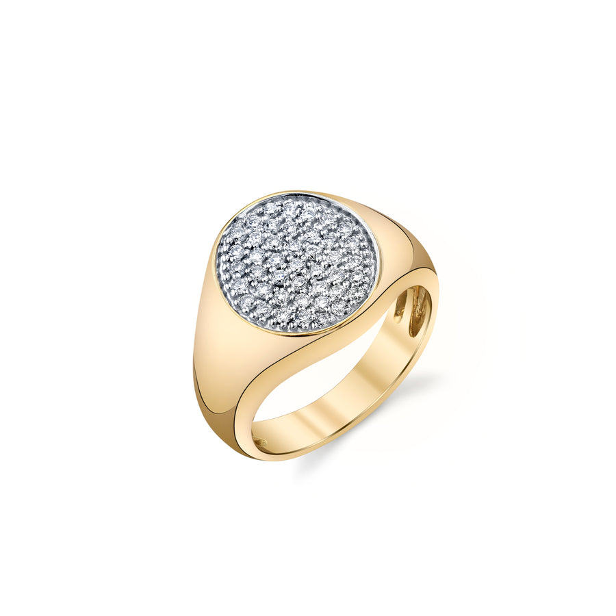 Yellow-Gold & Diamond Small Round Pave Signet Ring