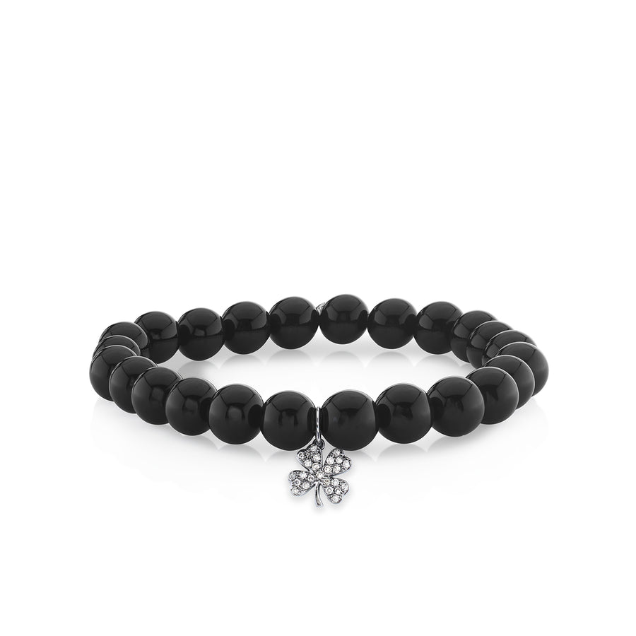 Men's Collection Black Rhodium & Diamond Small Clover on Onyx