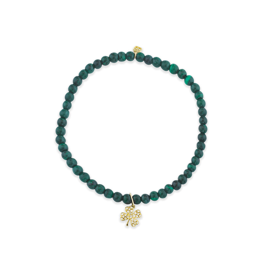 Men's Collection Gold & Diamond Small Clover on Malachite