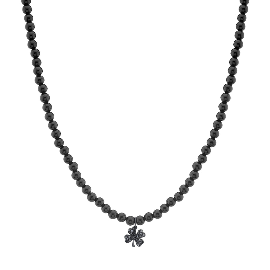Men's Collection Black Rhodium & Black Diamond Clover on Onyx Necklace