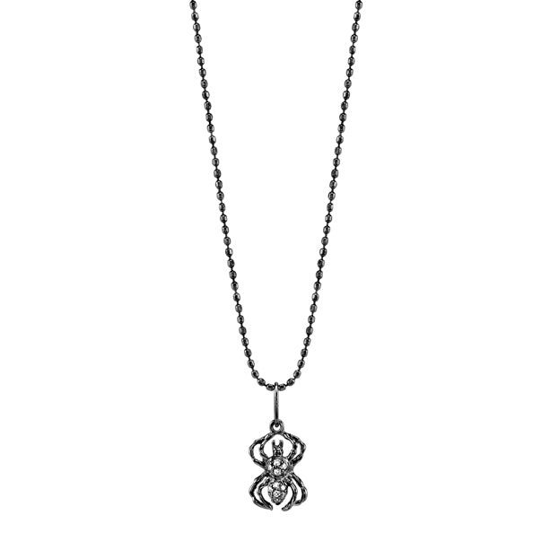 Black Rhodium & Diamond Small Spider Necklace