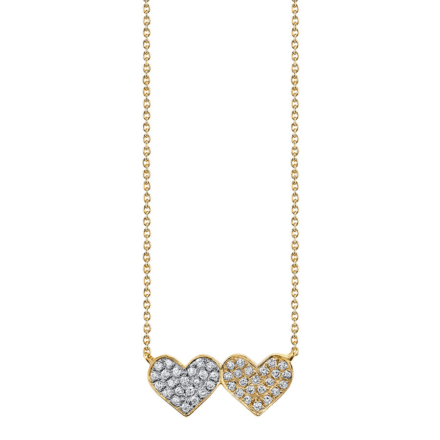 Gold & Diamond Medium Double Heart Necklace